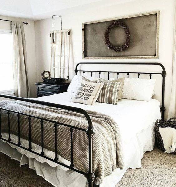 farmhouse bedroom furniture.  not for style helping me picture the layout of furniture in my room Best 25 Black iron beds ideas on Pinterest bed frames