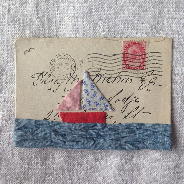 Needle turned appliqué boat on a sea of chambray hand stitched by Daisy Moon