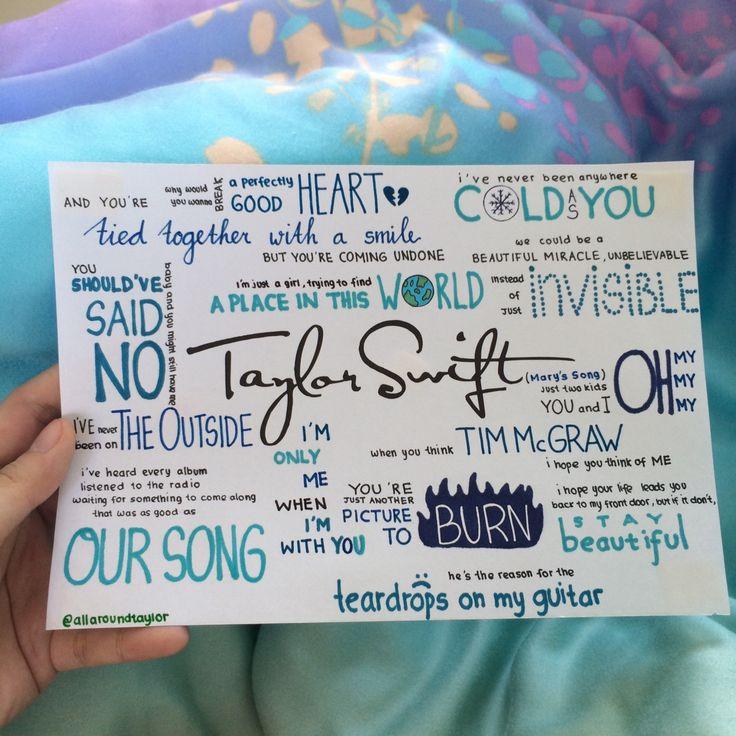 Taylor Swift by Taylor Swift album lyrics, hand drawn by http://allaroundtaylor.tumblr.com/.