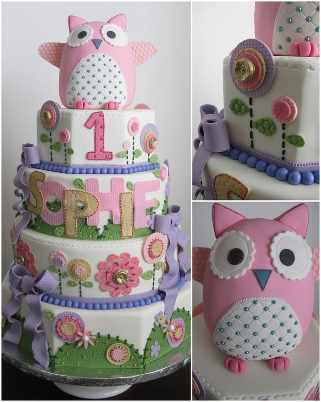 First Birthday Cake - one layer and the owl as smash