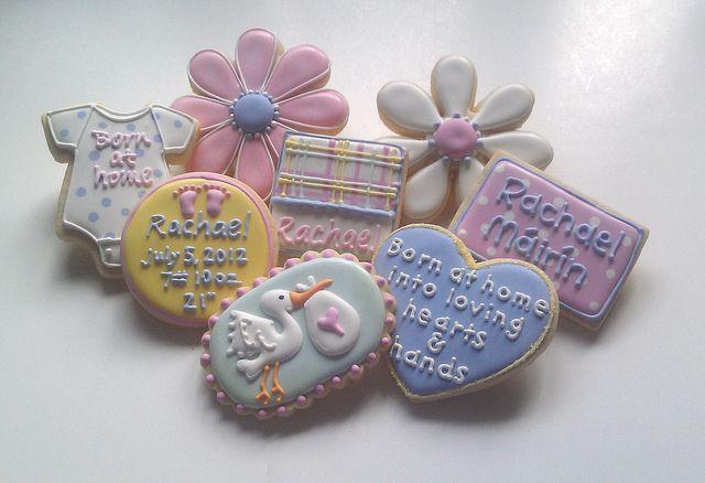 Welcome Home Baby Rachael by Custom Cookies by Jill, via Flickr