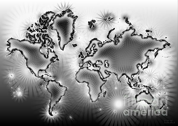 World Map Amuza In Black And White by elevencorners. World map art wall print decor #elevencorners #mapamuza
