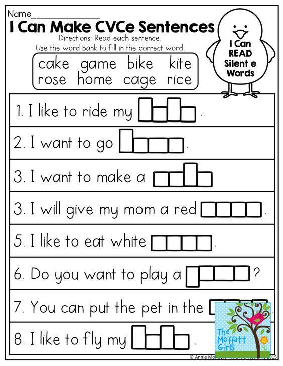 Free Worksheets super teachers worksheets com : I Can Make CVCe SENTENCES! Tons of great printables! : Pre ...