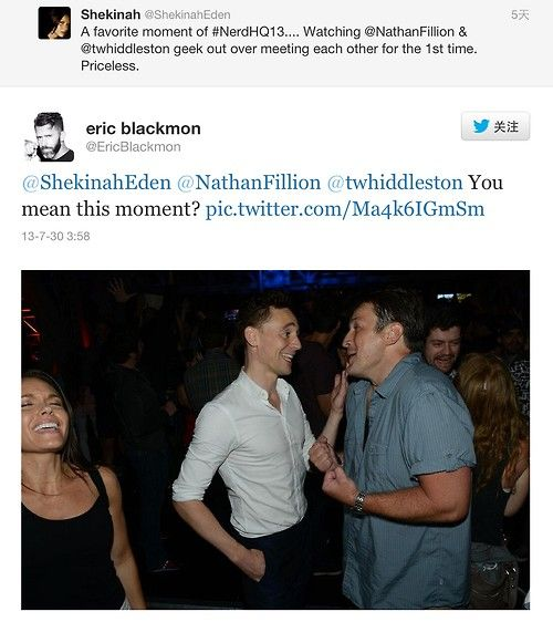 This just makes my heart happy; Seeing two people I geek out over, geeking out over each other.