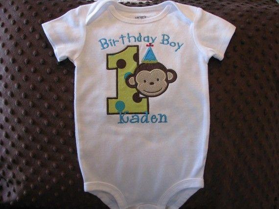 Birthday Boy First Birthday Mod Monkey Onesie or by Bethysboutique, $20.00