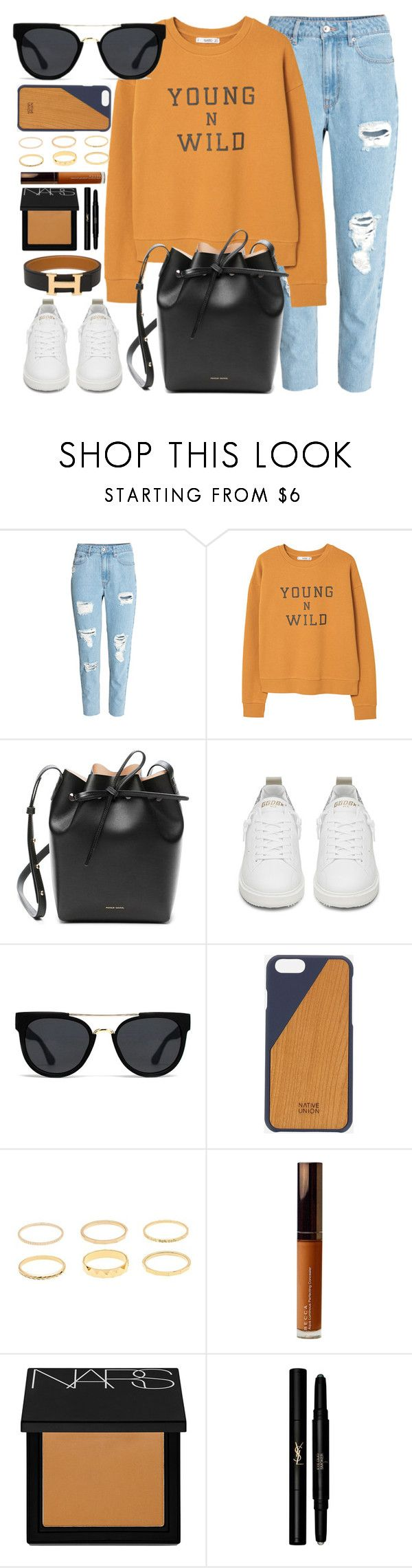 """""""Young & Wild"""" by smartbuyglasses-uk ❤ liked on Polyvore featuring MANGO, Mansur Gavriel, Golden Goose, Quay, Native Union, Becca, NARS Cosmetics, Yves Saint Laurent, Hermès and orange"""