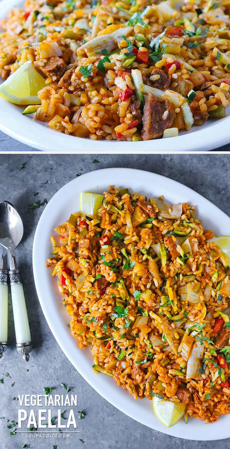 Vegetarian Paella - a crowd-pleasing, full flavored dish with saffron rice and savory vegetables that's perfect for any season, indoors and out. Recipe at SoupAddict.com | vegetarian | vegan | gluten-free | grilling | socarrat | rice