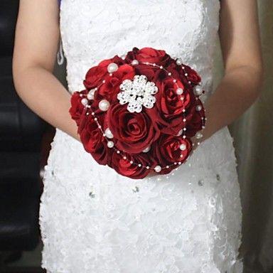 Seide rote Rose Brautstrauß weddding – CHF ₣ 48.59