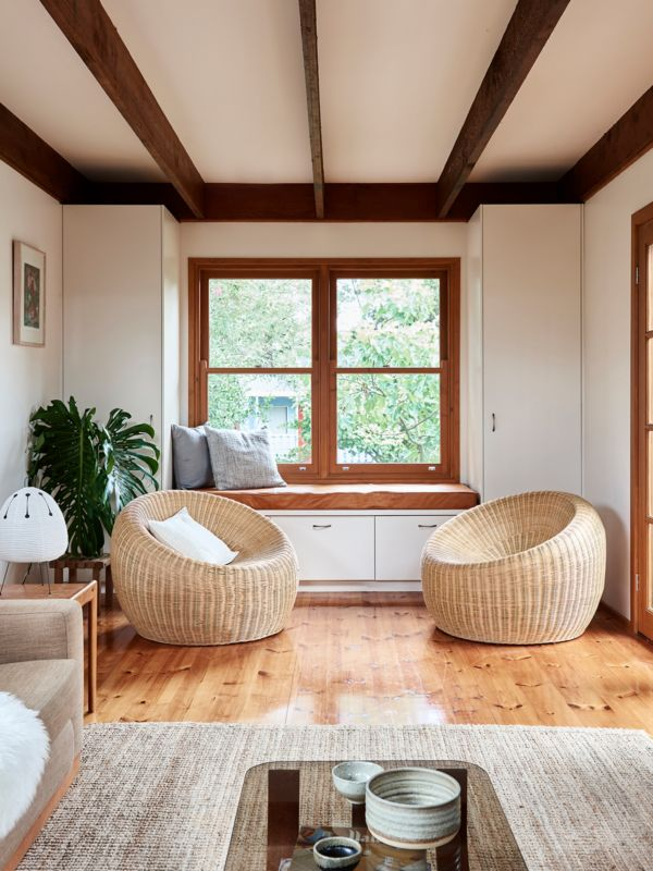 I like the straw style floor rug in the foreground.  Michael and Laura McCormack — The Design Files | Australia's most popular design blog.