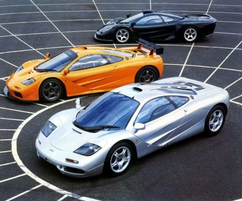 front to back: mclaren f1, mclaren f1 lm, mclaren f1 gt  Awesome enough to make my daughter's middle name.