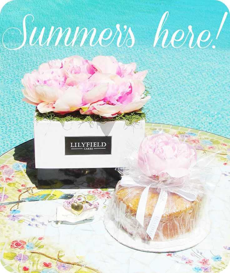 Summer's Here! Treat yourself to a Lilyfield Cake today!  #lilyfield #cakes #summer #poolside #peonies #blue #bouquet #water #summertime #gift #cakes #vanilla #order #shopnow
