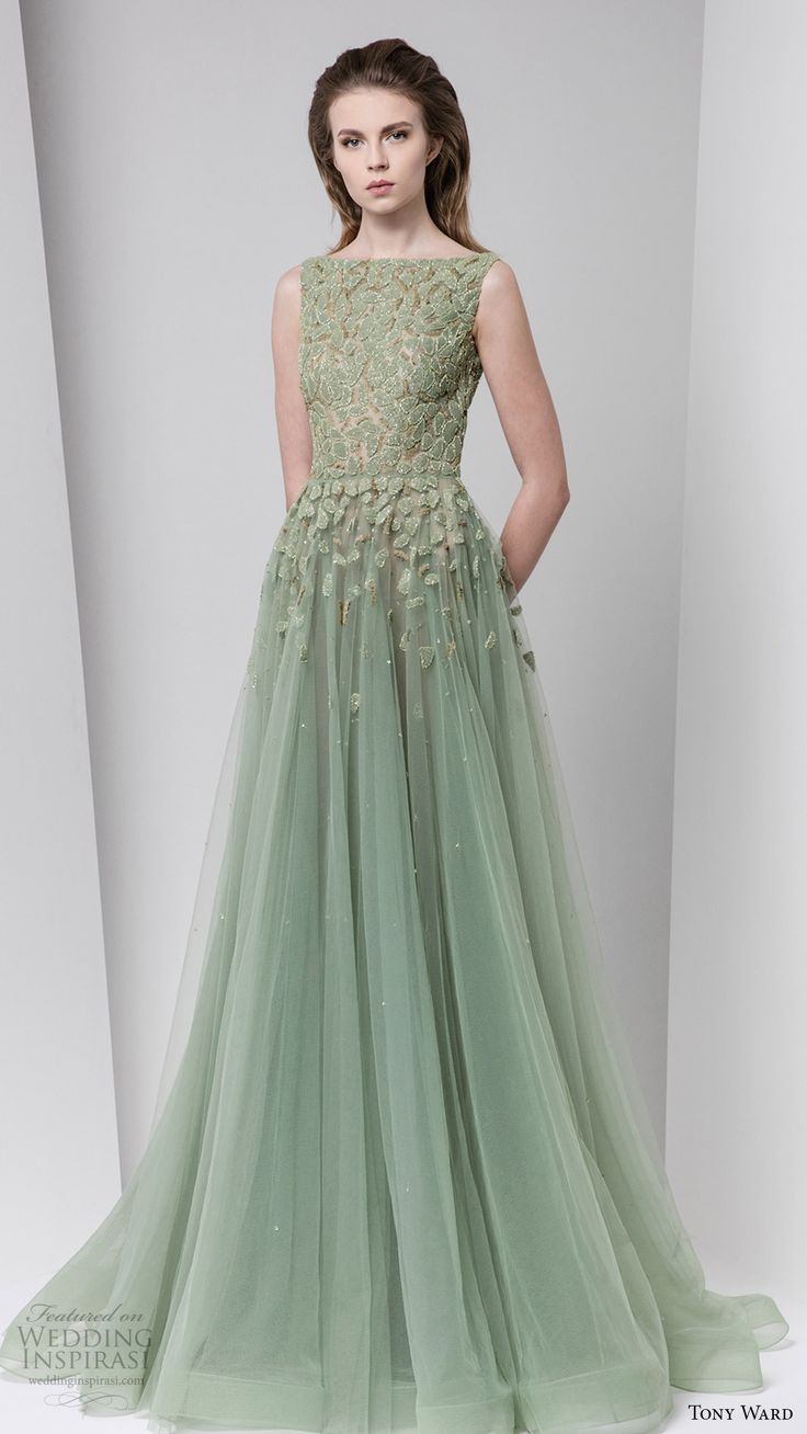 mint light green gowns green wedding dresses Tony Ward Fall Ready to Wear Dresses Green Wedding