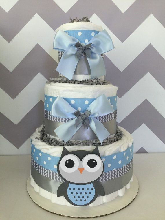 Deluxe Owl Diaper Cake in Blue and Gray Owl Baby di AllDiaperCakes