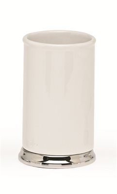 Moda at Home 102487 White Dolomite Transition Tumbler With Metal Accents