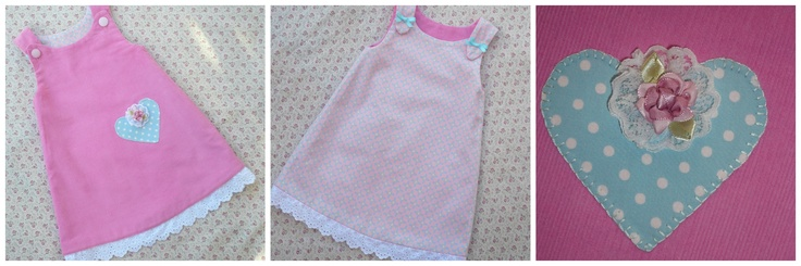 This gorgeous reversible pinafore with hand appliqued heart on a pretty pink cord one side and a lovely Lecien print on the other.   The hemline is finished with a cotton lace which is visible on both sides.       No unsightly seams that rub.    One only available in size 1.    Length from underarm  to hemline is 32cms.    Available at http://www.girljungle.com.au/store/mamaslove