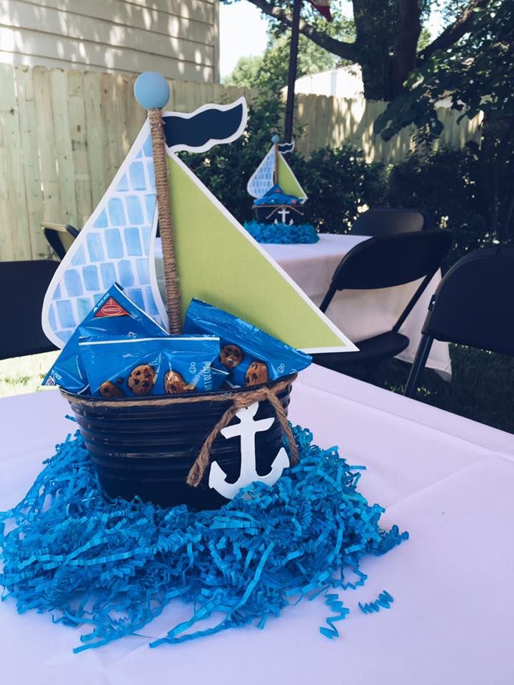 Nautical baby shower centerpiece.