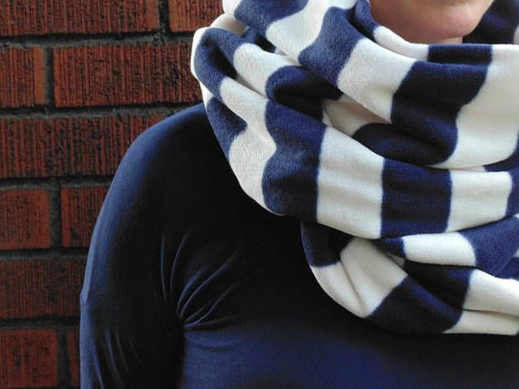 Oversize Striped Infinity Scarf Navy Blue and White Stripe