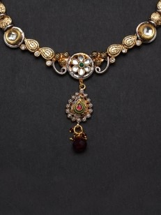 Antique silver and golden leaf and floral set with Kundan
