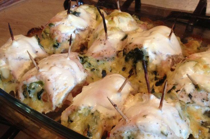 Рулетики из куриного филе со шпинатом и сыром