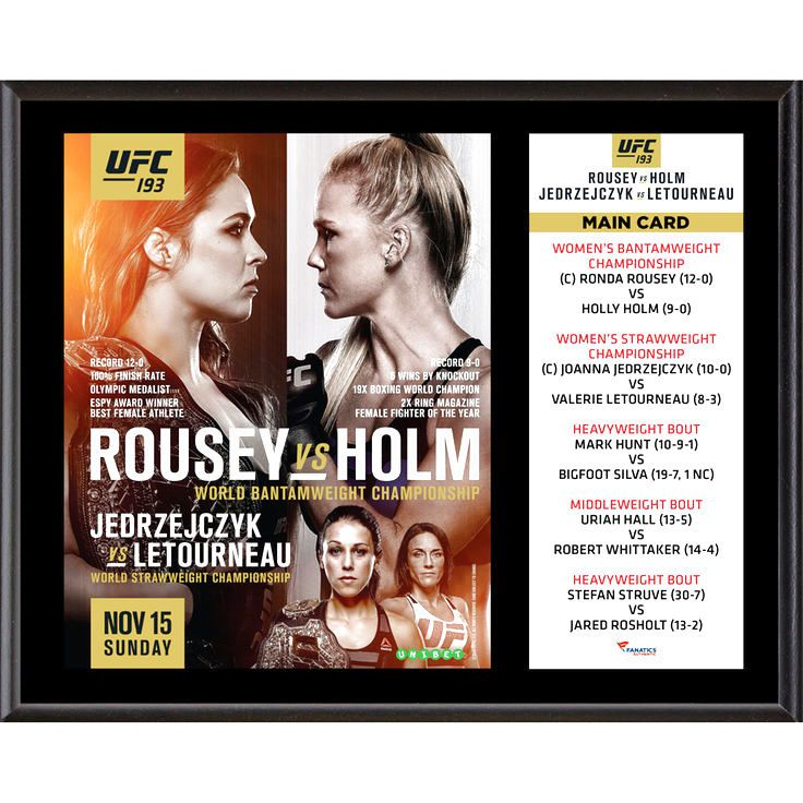 Fanatics Authentic UFC 193 Ronda Rousey vs. Holly Holm 12'' x 15'' Sublimated Plaque - $31.99