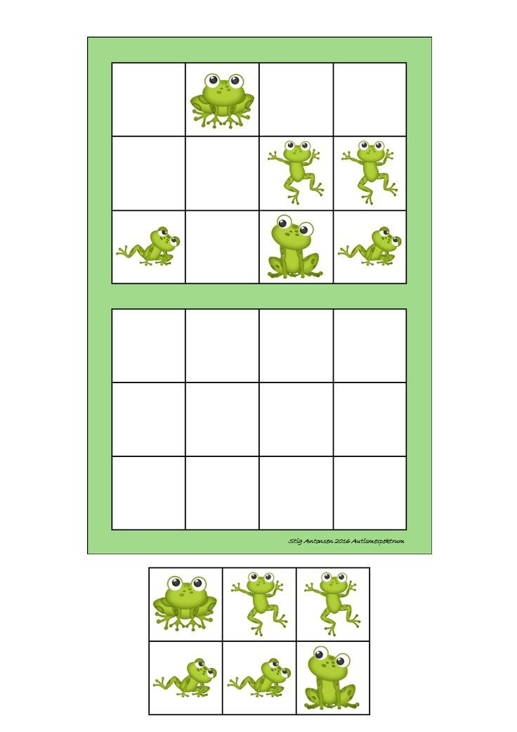 Espace : découpe les grenouilles du bas et place les dans le quadrillage vide selon le modèle au-dessus