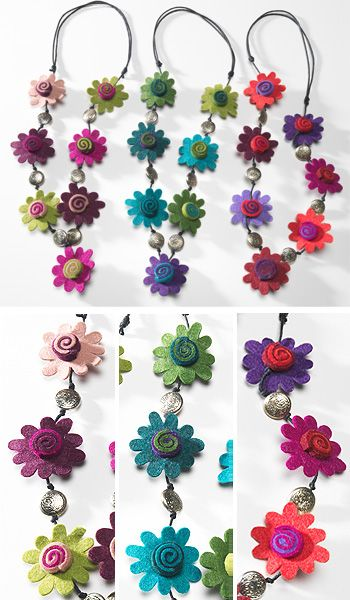 Felt flower/swirl and silver button necklace-think it would look great as a garland for the summer party