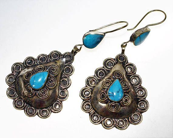 Tribal Ohrringe mit farbigen Steinen Hippie-Ohrringe Tribal
