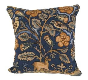 English Tapestry Stag/Owl Needlepoint Pillow