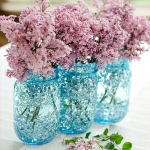 Ball Heritage Blue Perfect Mason Jar with Sequins and Flowers