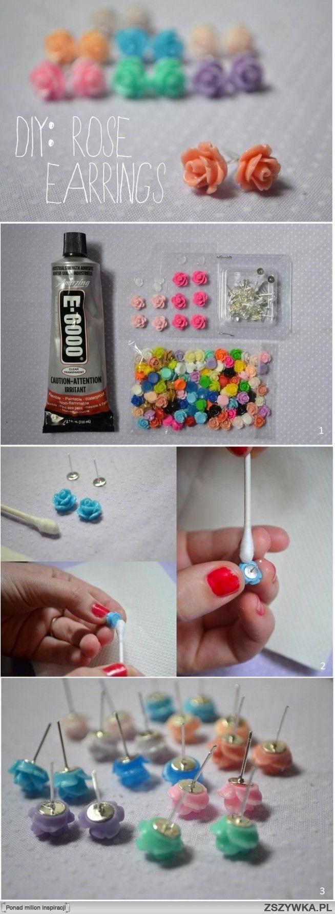 DIY rose earrings. SO CUTE AHH.