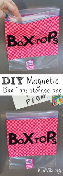 DIY Magnetic Box Tops storage bag. Be organized for Back to School with this easy DIY project. You only need a few household items and you can store those annoying Box Tops for education in one place. Make as a teacher gift, this craft idea is so easy-- my kids made it