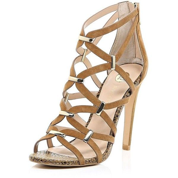 River Island Dark beige suede caged gold trim sandals ($130) ❤ liked on Polyvore featuring shoes, sandals, heels, river island, beige, heeled sandals, shoes / boots, women, special occasion sandals and high heel sandals