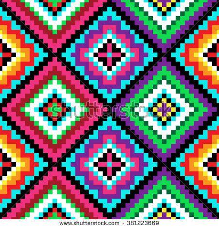 Tribal seamless colorful geometric pattern.