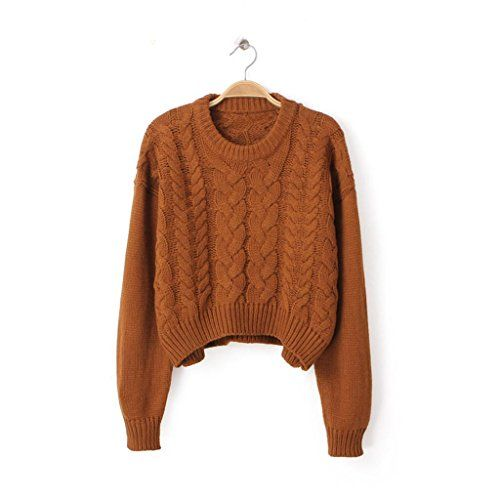 6a25102f0f PrettyGuide Women Eyelet Cable Knit Lace Up Crop Long Sleeve Sweater Crop  Tops Beige at Amazon Women s Clothing store