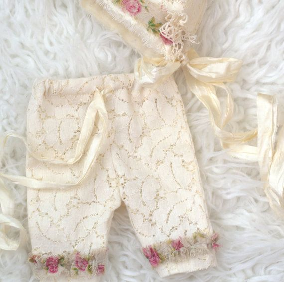 Newborn Bonnet Pants Set. Photography Hat and by verityisabelle