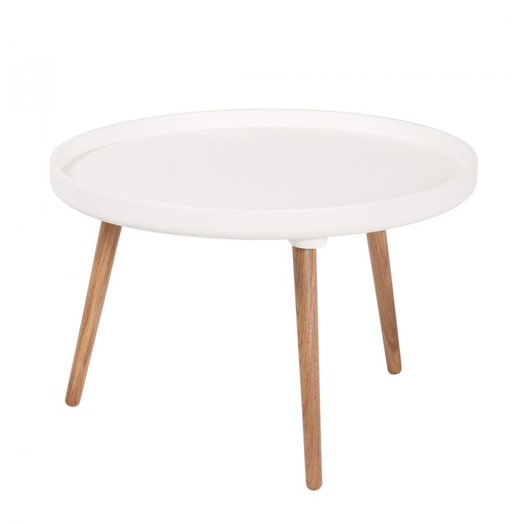 Table basse ronde Kompass Ø55 basse blanche