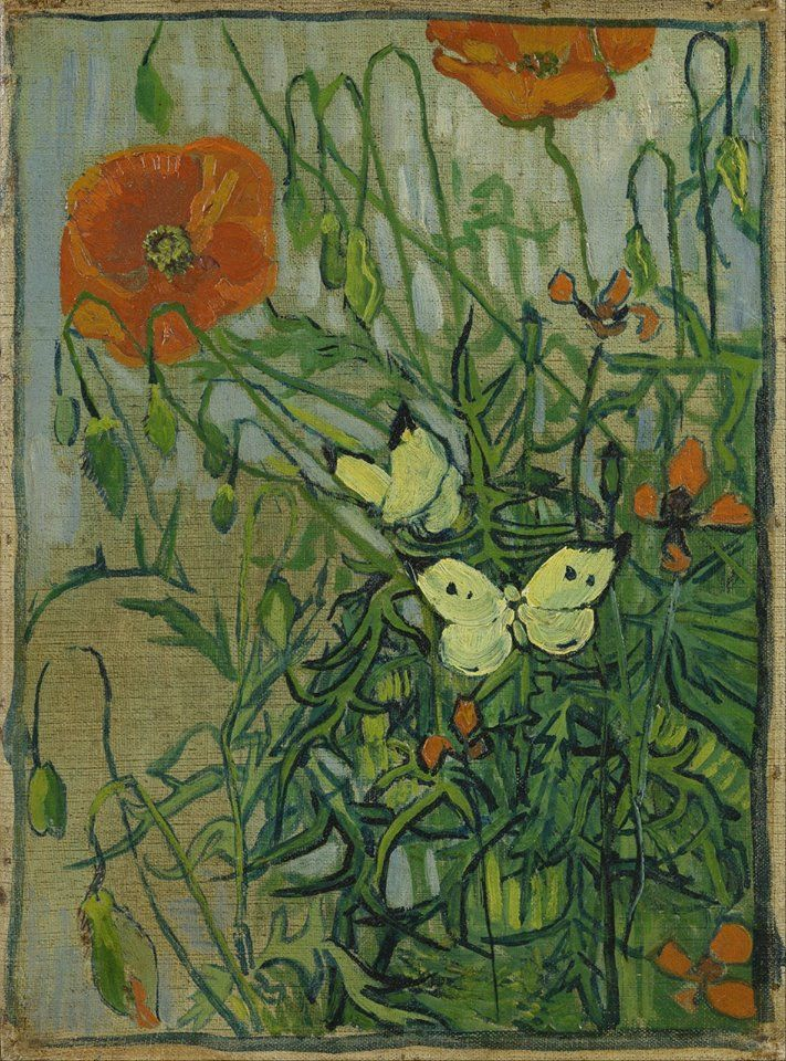 Art of the Day: Van Gogh, Poppies and Butterflies, April-May 1890. Oil on canvas, 34.5 x 25.5 cm. Van Gogh Museum, Amsterdam.