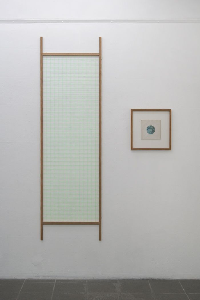 Johan Øvergård Afterlife (Dürer Grid) Oak and neon bricklayer's string, 60 x 182 x 2,1 cm, 2014