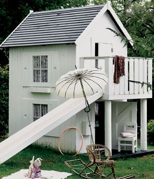 kids playhouse. Love the slide escape route.