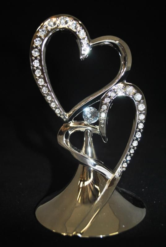Wedding  Double Hearts Metal Cake Topper with Diamantes - WeddingWish.com.au