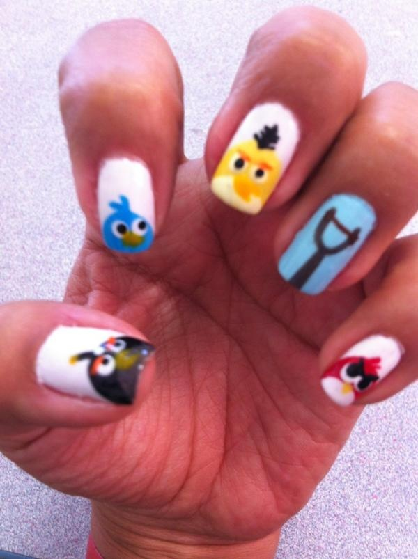 Awesome Angry Bird Nails Vignette - Nail Paint Design Ideas ...