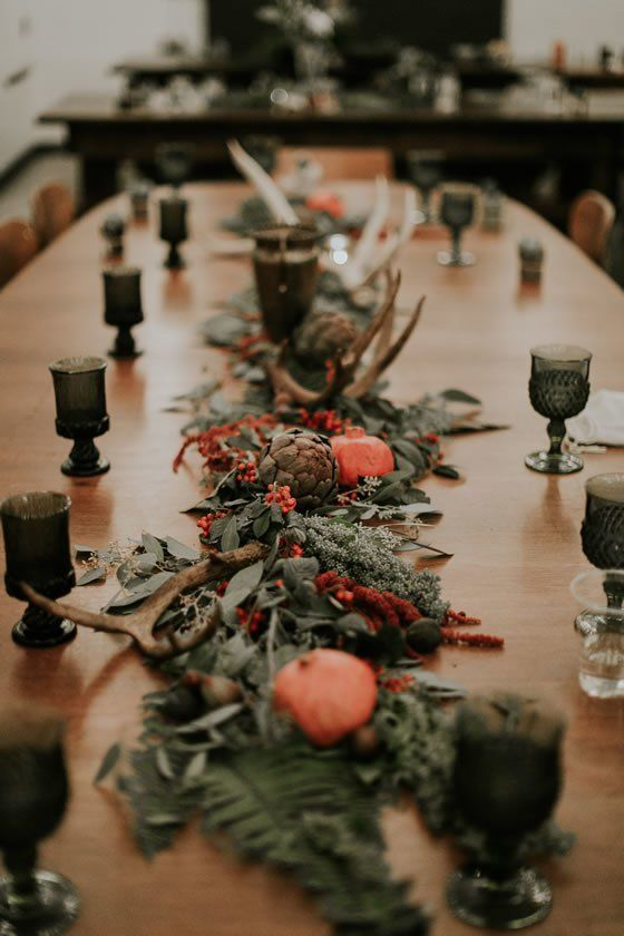 Antlers, berries, and greenery make for the perfect winter wedding centerpieces. UNION/PINE Weddings Portland Wedding Venue.