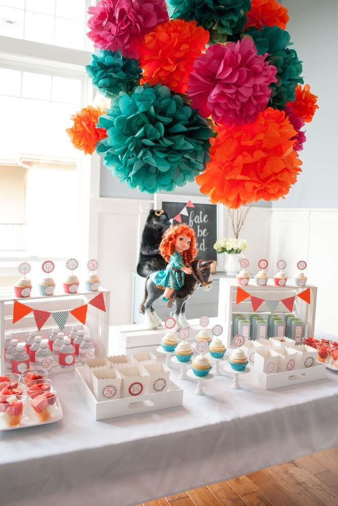 Brave Merida birthday party dessert table! See more party planning ideas at CatchMyParty.com!