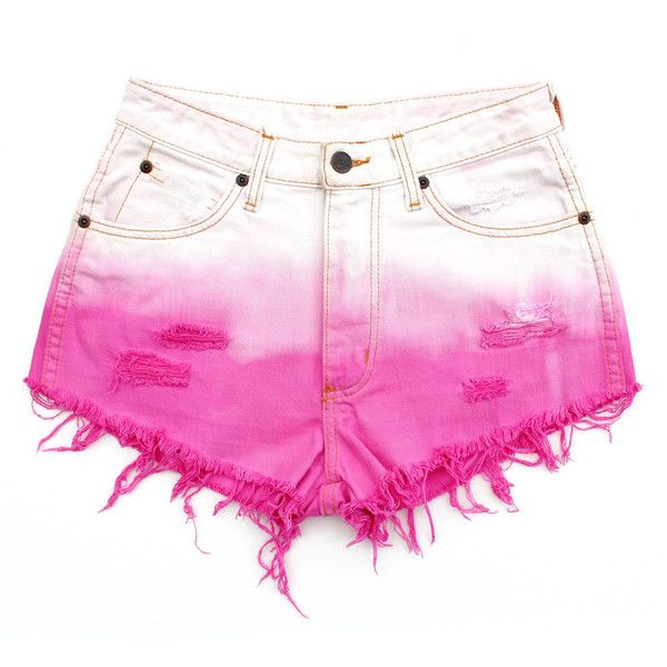 White / Bubblegum Pink Ombre Dip Dye Re Worked Vintage Denim Cut Offs... (330 SAR) ❤ liked on Polyvore featuring shorts, bottoms, pants, short, distressed jean shorts, vintage high waisted shorts, high-waisted shorts, denim shorts and cut-off jean shorts