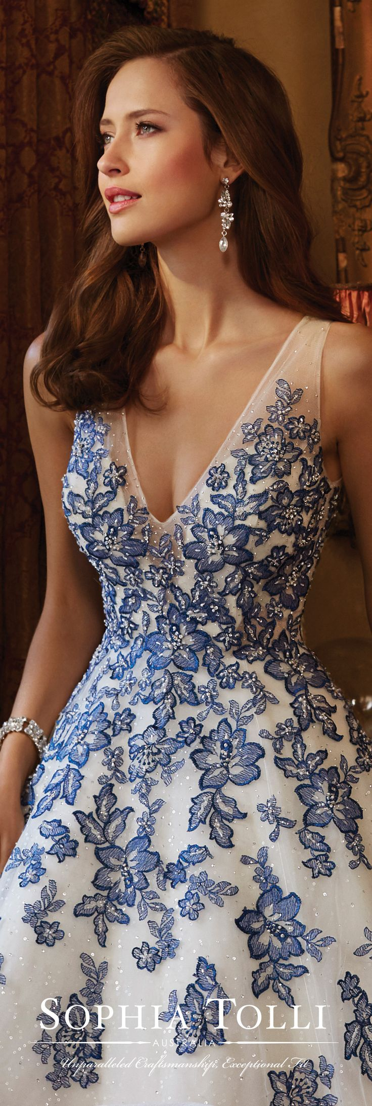 Sophia Tolli Spring 2017 Wedding Gown Collection - Style No. Y11701 Ciel - sleeveless lace and tulle sequin wedding dress with illusion back in Ivory/Sapphire Blue