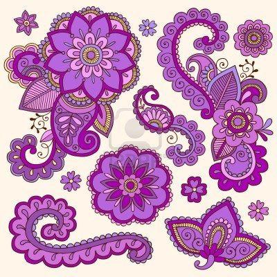 purple henna flowers and paisley tattoo