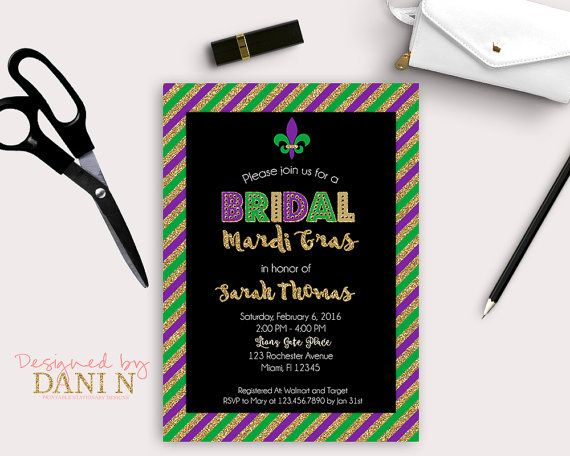 Bridal Shower Invitation Mardi gras Bachelorette Bridal Invites Gold green Purple Invitations Mardi Gras Costume Printable DIY by DesignedbyDaniN from Designed by Danin. Find it now at http://ift.tt/2aq7cSK!