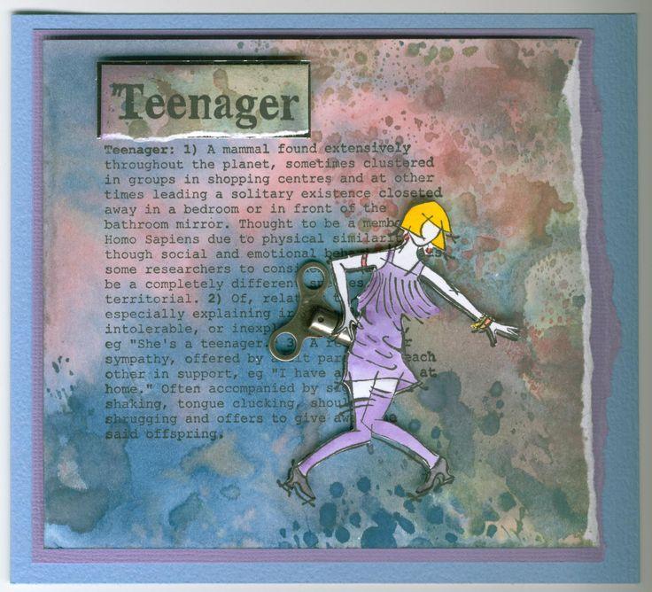 teenager definition 3307G, charleston 2816E: Stamp-it Australia. Card by Susan of Art Attic Studio