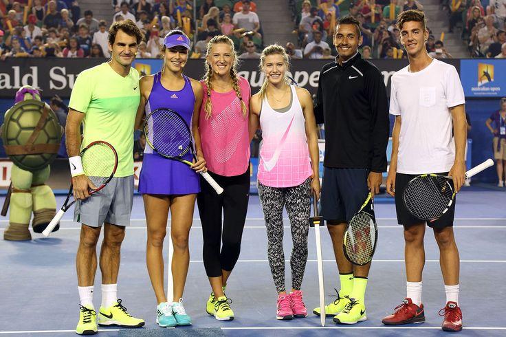Roger Federer, Ana Ivanovic,Victoria Azarenka, Eugenie Bouchard, Nick Kyrgios and Thanasis Kokkinakis pose during Kids Tennis Day on centre court at Rod Laver Arena