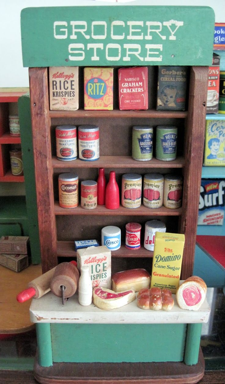 "I was just thinking how much I LOVED playing grocery store as a kid. Cardboard boxes stacked on top of each other did the trick for our ""grocery shelves..."